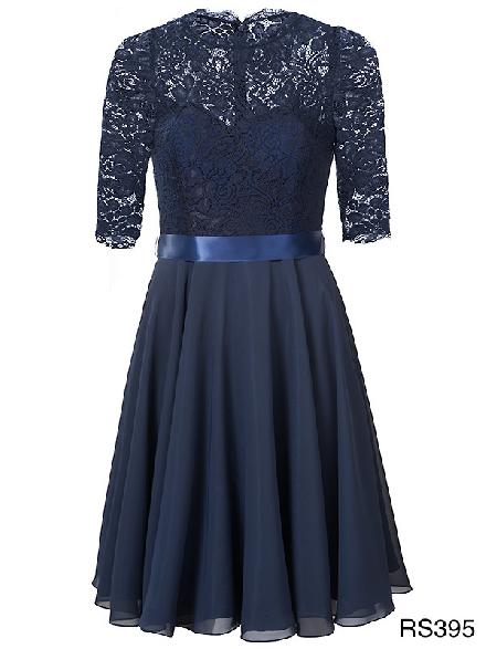 Short dress with lace top and chiffon skirt and a satin waistband Rosera